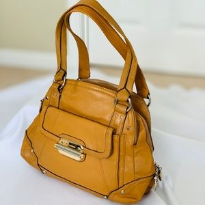 B. Makowsky Tan Leather Shoulder Bag